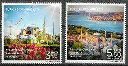TURKEY, 2020, MNH, HAGHIA SOPHIA, PLACE OF WORSHIP, CHURCHES, MOSQUES, FLOWERS, BIRDS, 2v - Kerken En Kathedralen