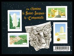 ** F4641, Les Chemins St Jacques De Compostelle: Feuillet Non Dentelé Accidentel + Inscriptions Omises. TTB - Variedades Y Curiosidades