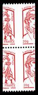 ** N°4779/a, Ciappa TVP Rouge, Paire Avec Découpe à Cheval Dont Exemplaire Avec N° Noir Au Verso. TB - Variedades Y Curiosidades