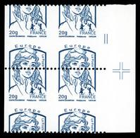 ** N°4780, Europe 20g TVP Bleu Ciappa, Piquage à Cheval 50/50 Sur Bloc De 4 Sans Prédecoupes Latérales, Bdf Avec Croix D - Variedades Y Curiosidades