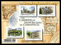 ** F4838, Les Chemins St Jacques De Compostelle: Feuillet Non Dentelé Impression Omise Des Coquilles St Jaques Dans Les  - Variedades Y Curiosidades
