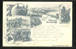 Lithographie Fürth, Hôtel Kütt, Musizierende Familie, Karussell, Fürther Kirchweih, PP 15 D 26 / 02, Ganzsache Bay - Stamped Stationery