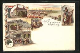 Lithographie Fürth, Fuerther Kirchweih, Hotel Kütt, Ganzsache Bayern PP15 D25 - Stamped Stationery