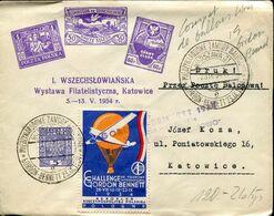 58220  Poland, Ballon Post Challenge Gordon Bennet 1934 From Warszawa To Katowice,  Erinnophile Bleu - Ballonpost