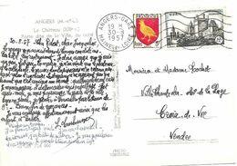 TIMBRE N° 1099 + 1004   - AU TARIF 1 07 1957 AU 5 1 59    - FLAMME N° ANG 401 S ANGERS GARE     -  1957 - Postal Rates