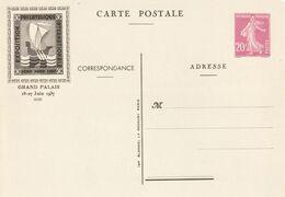 France Entier Semeuse Exposition Pexip 1937 20 Centimes Rose Cartouche Brun - Cartoline Postali E Su Commissione Privata TSC (ante 1995)