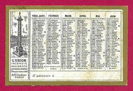 Calendrier De L'année 1934 - Compagnie D'assurance L'Union Sise Place Vendôme à Paris - Kleinformat : 1921-40