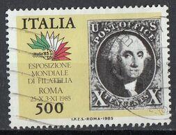 "Italia 1985 Uf. 1758 ""Italia '85"" 7° Serie 10 Cents America Viaggiato Used - 1981-90: Usati"