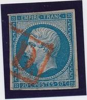 20 C Bleu N° 14 Obl PD Rouge TB. - 1853-1860 Napoléon III