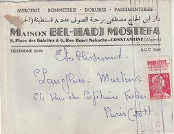 """ALGERIE : TIMBRE PUBLICITE . """" PUBLICITE PAR L'OBJET  """" . DE CONSTANTINE  POUR PARIS . 1957 . - Cartas"""