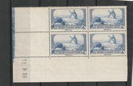 France Bloc De Quatre Coin Daté Du 311 Sans Charniére** De 12 9 1936 - 1930-1939