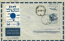 58252 Poland, Circuled Ballonpost Aerogramme 3,40 Zl. 1958 Balon Syrena From Zakopane To Bukowina - Ballonpost