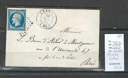 France - Lettre  - PC1032- CRETEIL - SEINE - 1855 - 1849-1876: Classic Period
