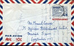 58267 Japan, Circuled Aerogramme 1954  To Spain - Interi Postali