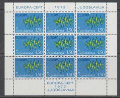 Europa Cept 1972 Yugoslavia 1.50 Din Value  Sheetlet** Mnh  (49762) - Europa-CEPT