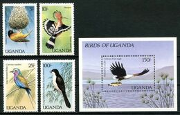 OUGANDA 1987 N° 470/475 Bloc 71 ** Neufs MNH Superbes C 20 € Faune Oiseaux Birds Ploceus Jacksoni Haliaeëtus Vocifer - Uganda (1962-...)