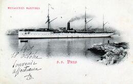 CPA - MESSAGERIES MARITIMES -  PAQUEBOT S.S.  OXUS -  Cachet Port Payé Paquebot Poste OXUS -  1905 - Paquebots