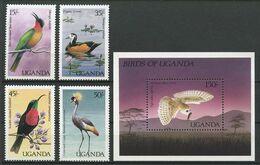 OUGANDA 1987 N° 474/477 Bloc 72 ** Neufs MNH Superbes C 21 € Faune Oiseaux Birds Merops Bulocki Tyto Alba Affinis - Uganda (1962-...)