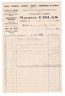 Facture 1933 Fers Fontes Charbons Bois Quincaillerie Maurice COLAS (anc. A. Buisson), Courtenay - France