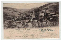 68 ORBEY URBEIS #15276BIS GRUSS AUS UNTERDORF BAS DU VILLAGE + CACHET LIGNE CHEMIN DE FER - Orbey