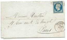 N° 14 BLEU NAPOLEON SUR LETTRE / SENLIS POUR PARIS / 24 JANV 1857 - Postmark Collection (Covers)
