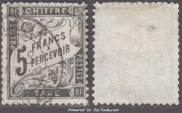 *RARETE* 5Fr Duval Noir Oblitéré  TB D'aspect ! (Y&T N° 24, Cote 2000€) - Postage Due