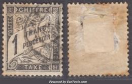 *RARE* 1Fr Duval Noir Oblitéré Aspect TB (Y&T N° 22, Cote 500€) - Postage Due