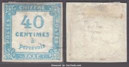 *RARE* 40c Taxe Carré BLEU Oblitéré Aspect TB (Y&T N° 7 , Cote : 700€) - 1859-1955 Used