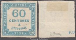 60c Taxe Carré Bleu Neuf (*) Sans Gomme  TB Signé A. BRUN (Y&T N° 9 , Cote Avec Gomme: 110€) - 1859-1955 Neufs
