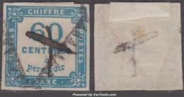 60c Taxe Carré Bleu Oblitéré (Y&T N° 9, Cote 150€) - 1859-1955 Gebraucht