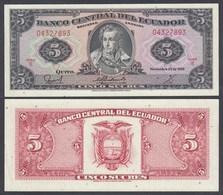 Ecuador 5 Sucres Banknote 22.11.1988 Pick 113d  UNC (1)    (26966 - Banconote