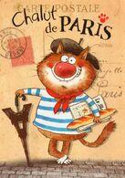 CPM - F - ILLUSTRATEUR VALERIE MICHAUT - CHALUT DE PARIS - CHAT - TOUR EIFFEL - Francia