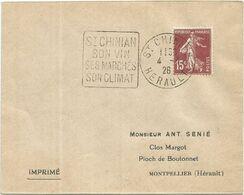 N° 189 LETTRE DAGUIN ST CHINIAN SON VIN SES MARCHES 4.4.26 HERAULT - Marcofilia (sobres)