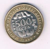 500 FRANCS  2005  AFRICA L'QOUEST /7022/ - Monete