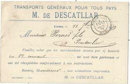 ENTIER SAGE 10C CP CETTE HERAULT 1879 REPIQUAGE DESCATLLAR TRANSPORT GENERAUX POUR PERNOD DOUBS - Cartoline Postali Ristampe (ante 1955)