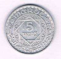 5 FRANCS 1370 AH  MAROKKO /7029/ - Marocco