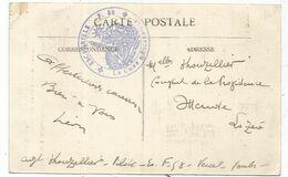 DOUBS VERCEL CARTE + CACHET VIOLET ESCADRILLE F.58 LE CHEF D'ESCADRILLE - Guerra Del 1914-18