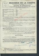 BRASSERIE DE LA COMÈTE SOUSCRIPTION DE G TIEPAGNE ? CHELLES 1948 NOTAIRE DUFOUR PARIS Boul HAUSMANN : - Bank & Versicherung