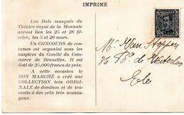 PO63 Pos. B - BRUXELLES 22 BRUSSEL Sur CP Publicitaire (Aux Bals Masqués De La Monnaie) - Typo Precancels 1922-26 (Albert I)