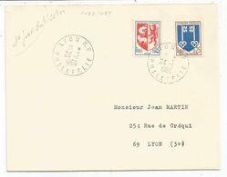 BLASON 5C AUCH +25C MONT DE MARSAN LETTRE LYON RP 24.1.1966 1ER JOUR DU TIMBRE - 1941-66 Escudos Y Blasones