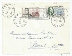 SURTAXE N°1295+1296 LETTRE VICHY 2.6.1961 ALLIER - Marcofilia (sobres)