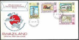 SWAZILAND FDC 1079 25TH ANNIVERSARY OF TELECOMMUNICATION SERVICE UPU MEMBER SHIP - Swaziland (1968-...)