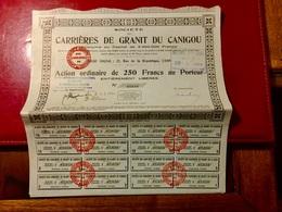 Sté  Des  CARRIÈRES  De. GRANIT  Du  CANIGOU -----Action. Ordinaire  De  250 Frs - Mines