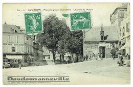 CPA - 46 - GOURDON - Grande Epicerie VINAY Place Du Quatre Septembre - Chapelle - Publicités - Gourdon