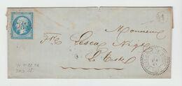 GIRONDE: LE TEMPLE DU MEDOC, G.C 3915 + CàD Type 22 + BR A / LSC De 1862 IND 17 - Marcofilia (sobres)