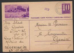 Carte Entier 10c Oblt CAMP MILITAIRE D'INTERNEMENT * SUISSE * + Censure Nov 1940 - Guerra Del 1939-45