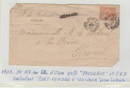 """Griffe """" PAQUEBOT """" + Ambulant Port-Vendre à Toulouse / LSC D'Oran De 1903 Labrède - Marcofilia (sobres)"""