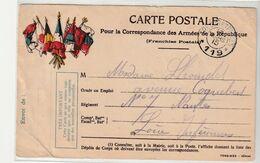 Carte Militaire Illustrée Drapeaux En Franchise Postale : 7 Drapeaux, Trésor Et  Postes 119, 1915 - Brieven En Documenten