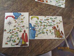 Lot De 2 Barre Dayez Depot Legal  1945 Cameroun Afrique Carte Illustree - Fantasia