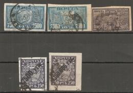 RUSSIE - Yv N°  165,165B,167,168,169 (o)  Surchargés   Cote 1,5  Euro  BE - 1917-1923 Republic & Soviet Republic